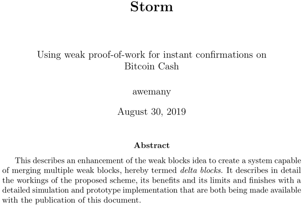 New Storm Concept Could Strengthen Bitcoin Cash Instant Transactions